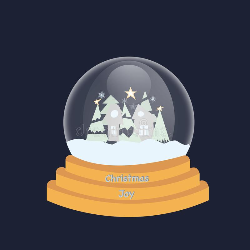 Hello winter snow globe. Glass bauble with glass sphere. House, Christmas tree and snowflakes. Ball toy with Christmas decor flat stock illustration
