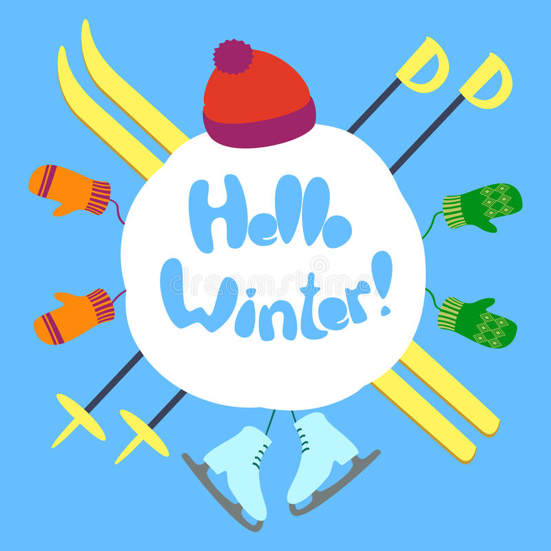 Hello winter text stock photo