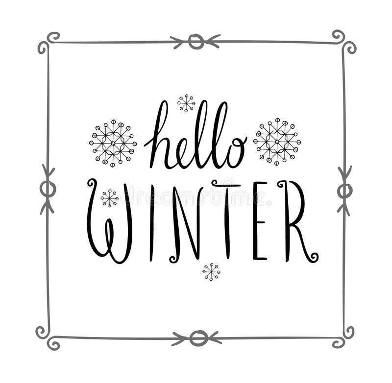 Hello winter text. Vector Brush lettering. Card design with custom calligraphy. Season cards, greetings for social media royalty free illustration