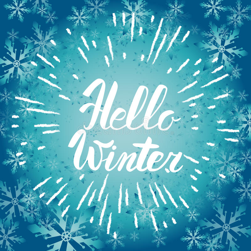 Bon Download Hello Winter Text. Vector Brush Lettering Hello Winter. Vector  Card Design With Custom