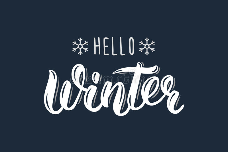 Hello Winter. Trendy hand lettering quote, fashion graphics, art print for posters and greeting cards design. Calligraphic isolate. D quote in white ink. Vector stock illustration