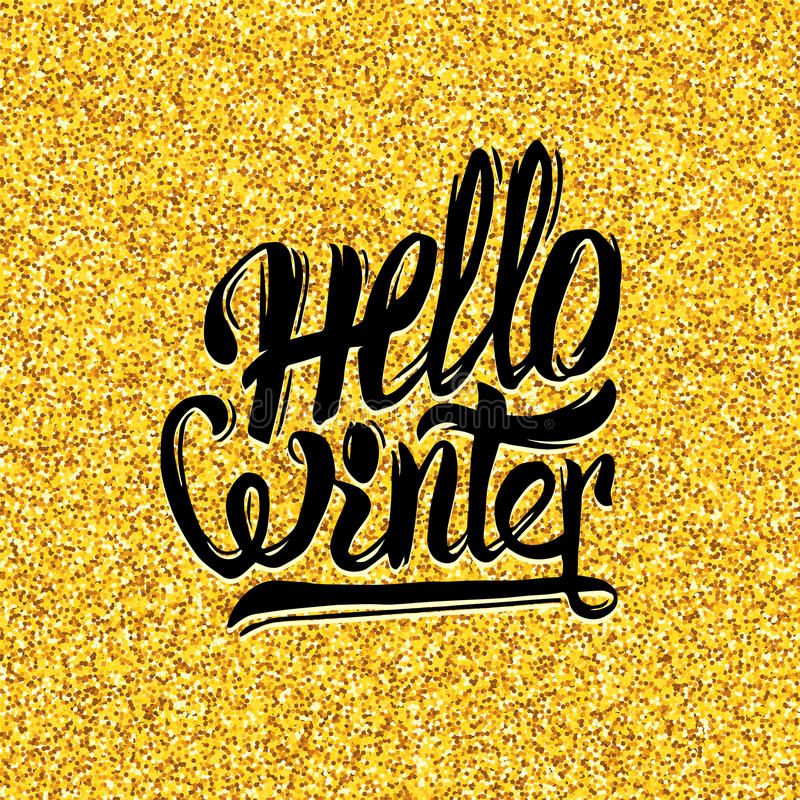Download Hello Winter Typography On Gold Tinsel Background Stock Vector    Illustration Of Festive, Greeting