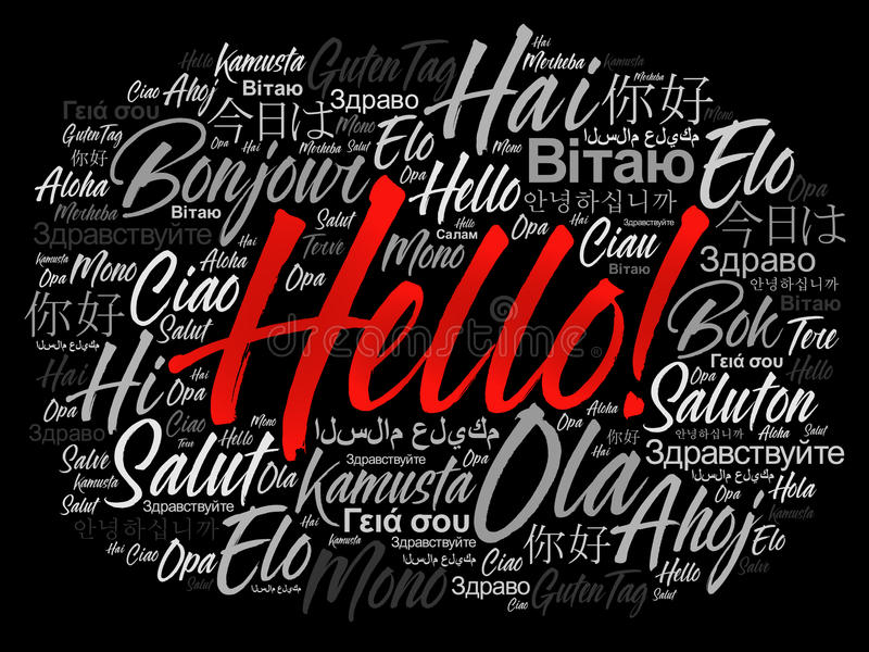 Hello word cloud in different languages vector illustration