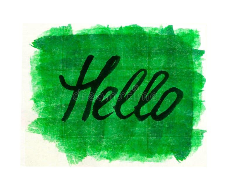 HELLO word on green background stock illustration