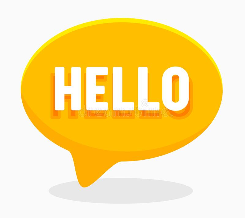 Free Hello Word On English Language In Yellow Speech Bubble Isolated On White Background. Translation Agency Service Royalty Free Stock Photo - 171315475