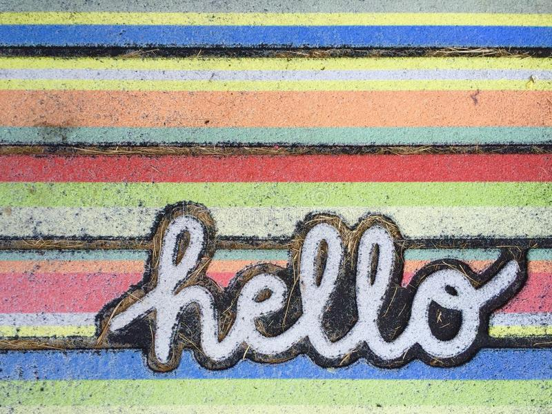 Hello. Word hello with a retro background stock image