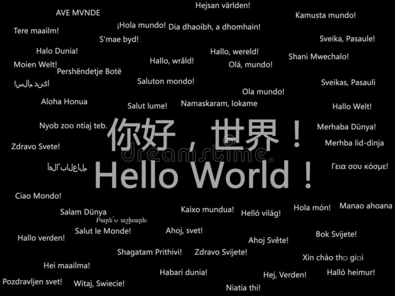 Hello World. Say hello world in many human languages stock illustration