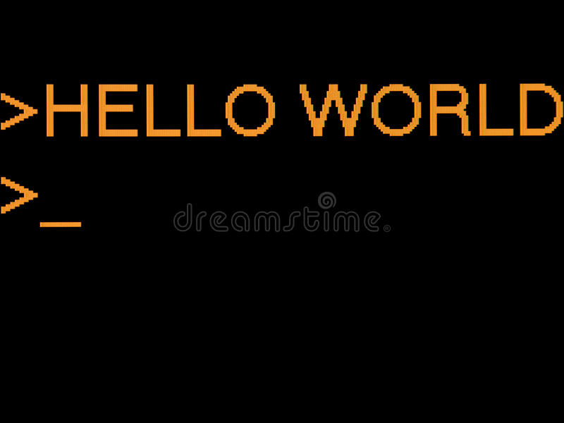 Hello world. Closeup of output on screen of computer - typical first program written by developers is a test 'hello world' program. Orange text on black stock image