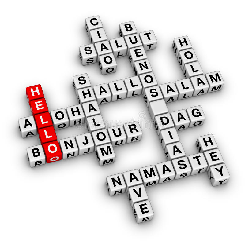 Hello world. Crossword puzzle communication concept vector illustration