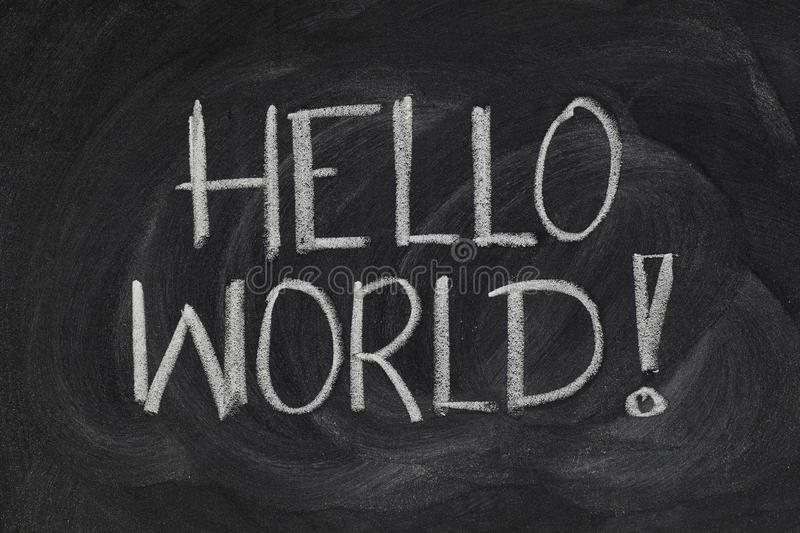 Hello, World! - first computer program. Hello, World! message from a first computer program used in many introductory tutorials for teaching programming language stock images