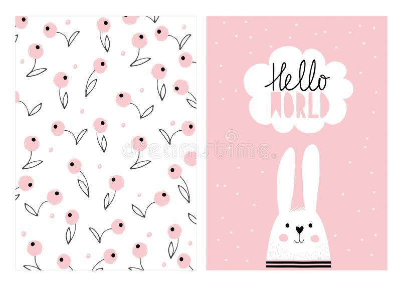 Hello World, White Cute Rabbit. Hand Drawn Baby Shower Vector Illustration Set. stock illustration