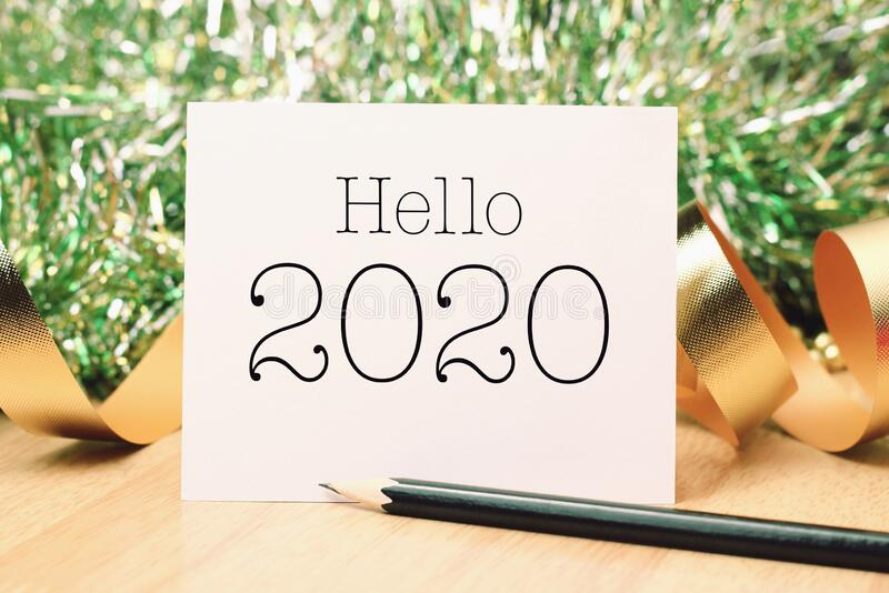 Hello year 2020 with gold decoration royalty free stock image