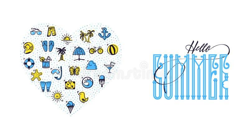 Hello-zomer en de Reeks van de zomer kleurden de vorm van het pictogrammenhart, in een volledig met de hand gemaakte krabbel van  vector illustratie
