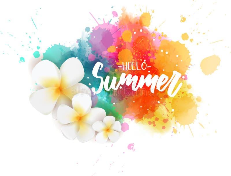 Hello-zomer watercolored vlek royalty-vrije illustratie
