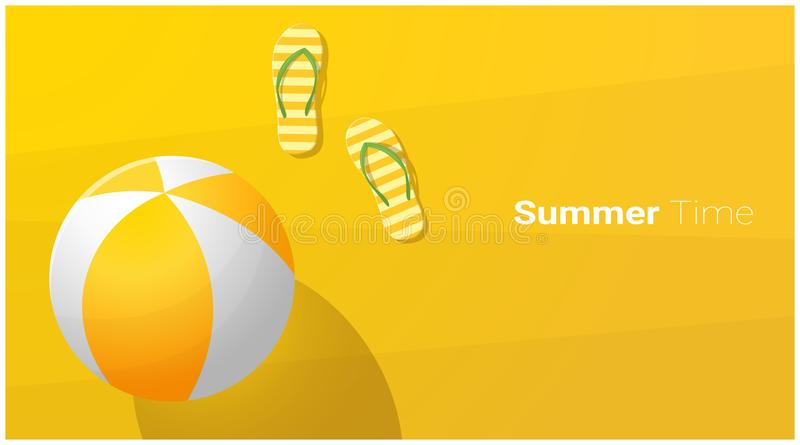 Hello-Zomerachtergrond met sandals en strandbal op tropisch strand royalty-vrije illustratie