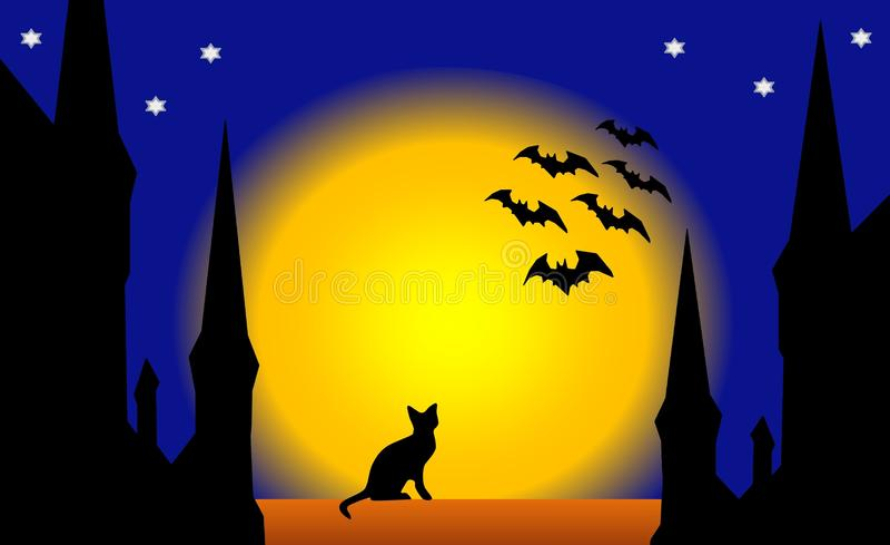 Helloween Night In The Old Town Stock Illustration Illustration Of