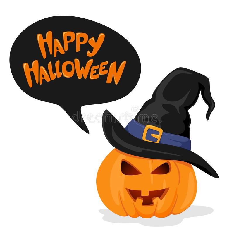 Happy Halloween lettering handwritten text .  Pumpkin in a witch`s hat. Vector illustration. Text balloon vector illustration