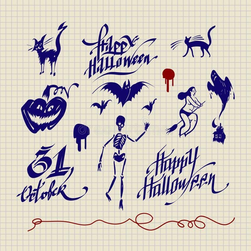 Download Helloween set stock vector. Image of skeleton, horror - 27043706
