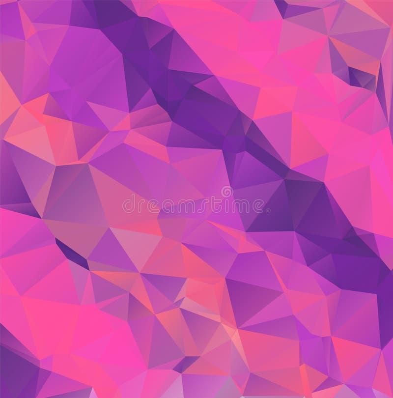 Hellpurpurner Vektorpolygon-Zusammenfassungshintergrund Polygonal mit Steigung Masern Sie Muster für Ihre Hintergründe stock abbildung