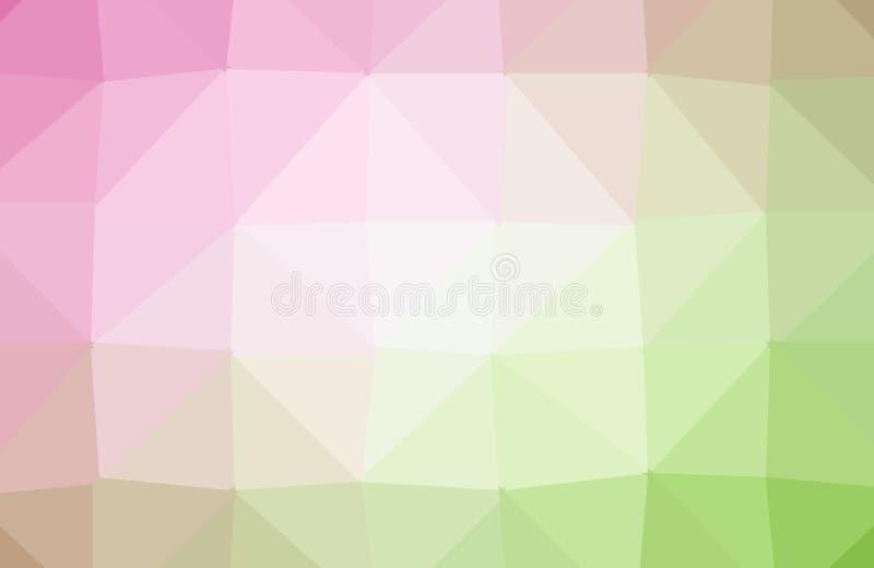 Hellrosa, gelber Vektor, der dreieckigen Hintergrund glänzt Dreieckige geometrische Probe mit Steigung Polygonaler Entwurf für Ih lizenzfreie abbildung