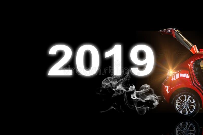 Hellrote Farbe des Autoendstücks mit Rauch andnvector 2019 für Kunden Unter VerwendungTapete oder Hintergrund für Transport oder lizenzfreies stockfoto