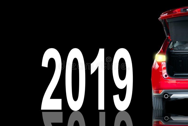 Hellrote Farbe des Autoendstücks mit Vektor 2019 stockfotografie