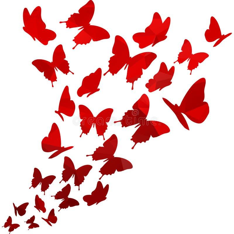 Hellroter Dreieckpolygon-Schmetterlingsstrudel Fliegendes elegantes modisches Design des Schmetterlingsmusters Getrennt auf weiße lizenzfreie abbildung