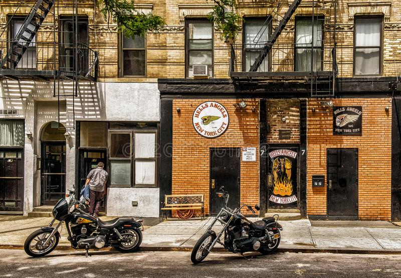 Hells Angels Headquarters. New York City, USA, May 2018, facade of the Hells Angels Headquarters building in East Village in Manhattan royalty free stock photos