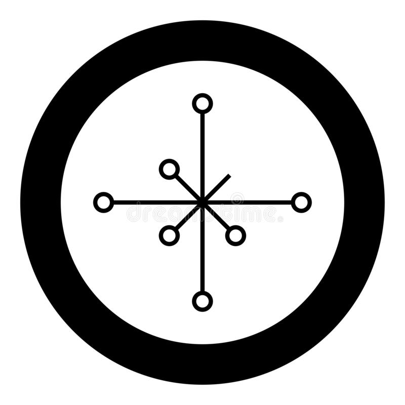 Helm of awe aegishjalmur or egishjalmur galdrastav icon black color vector in circle round illustration flat style image. Helm of awe aegishjalmur or egishjalmur royalty free illustration