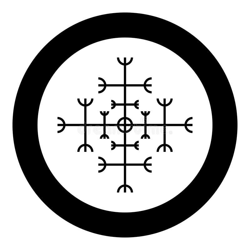 Helm of awe aegishjalmur or egishjalmur galdrastav icon black color vector in circle round illustration flat style image. Helm of awe aegishjalmur or egishjalmur vector illustration