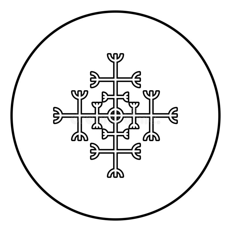 Helm of awe aegishjalmur or egishjalmur galdrastav icon outline black color vector in circle round illustration flat style image. Helm of awe aegishjalmur or stock illustration