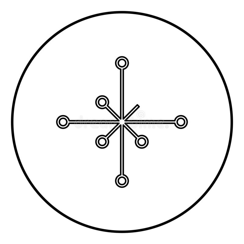 Helm of awe aegishjalmur or egishjalmur galdrastav icon outline black color vector in circle round illustration flat style image. Helm of awe aegishjalmur or vector illustration