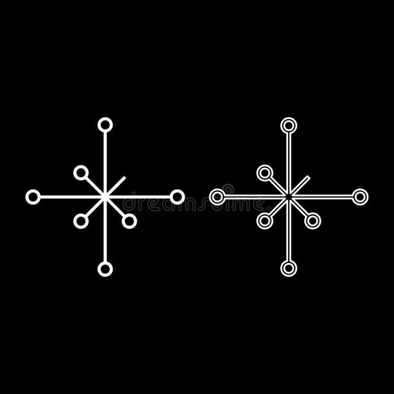 Helm of awe aegishjalmur or egishjalmur galdrastav icon set white color illustration flat style simple image. Helm of awe aegishjalmur or egishjalmur galdrastav vector illustration
