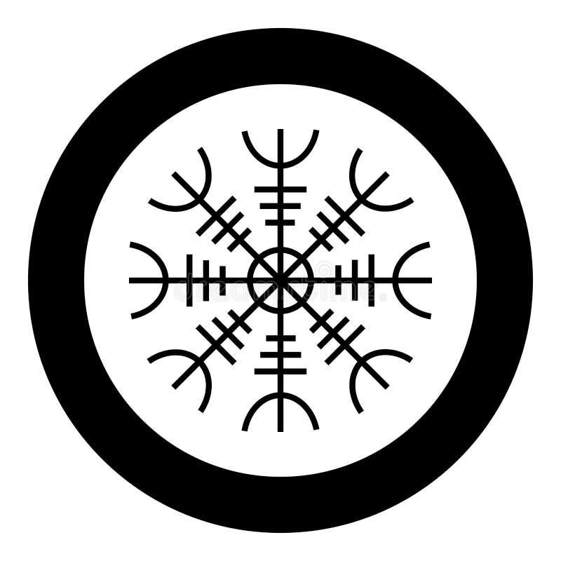 Helm of awe aegishjalmur or egishjalmur icon black color vector in circle round illustration flat style image. Helm of awe aegishjalmur or egishjalmur icon black stock illustration