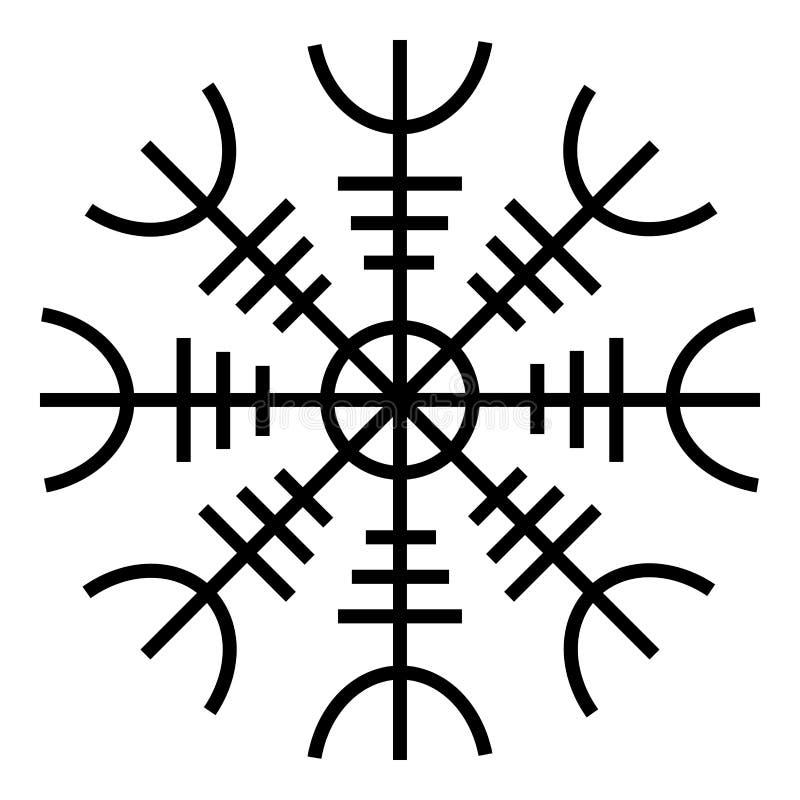 Helm of awe aegishjalmur or egishjalmur icon black color vector illustration flat style image. Helm of awe aegishjalmur or egishjalmur icon black color vector stock illustration