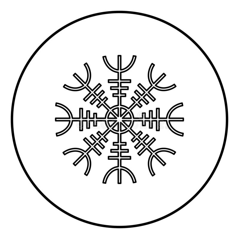 Helm of awe aegishjalmur or egishjalmur icon outline black color vector in circle round illustration flat style image. Helm of awe aegishjalmur or egishjalmur stock illustration