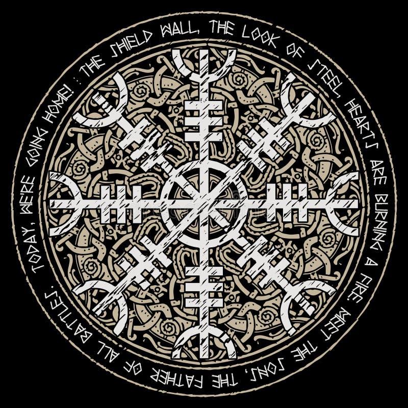 Helm of awe, helm of terror, Icelandic magical staves with scandinavian pattern, Aegishjalmur. Isolated on black, vector illustration stock illustration