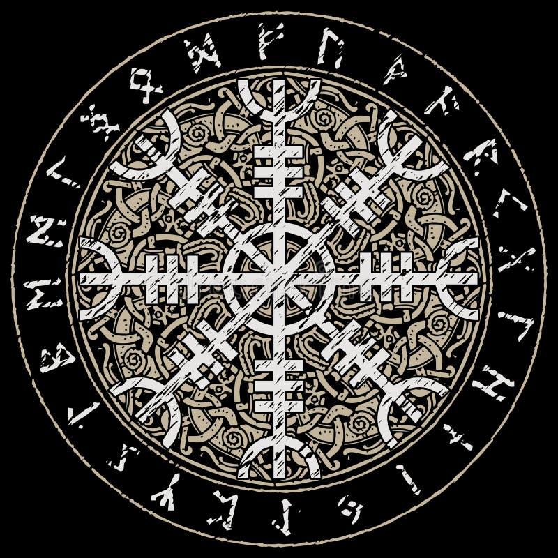 Helm of awe, helm of terror, Icelandic magical staves with scandinavian pattern, Aegishjalmur. Isolated on black, vector illustration royalty free illustration