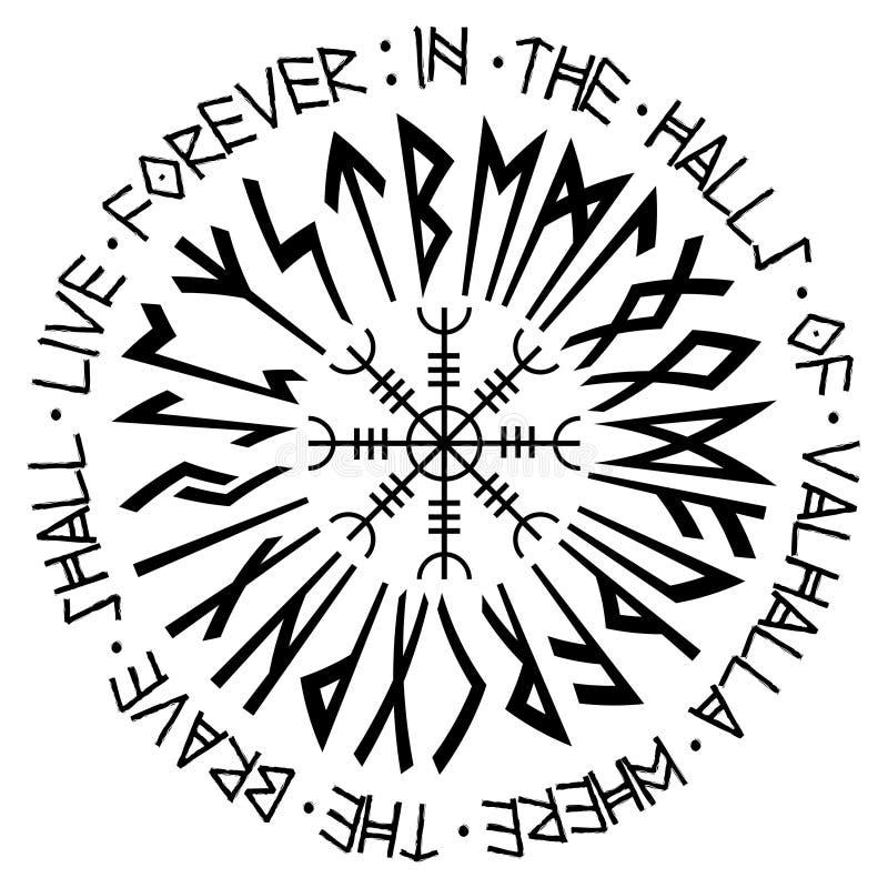 Helm of awe, helm of terror, Icelandic magical staves with scandinavian runes, Aegishjalmur. Isolated on white, vector illustration stock illustration
