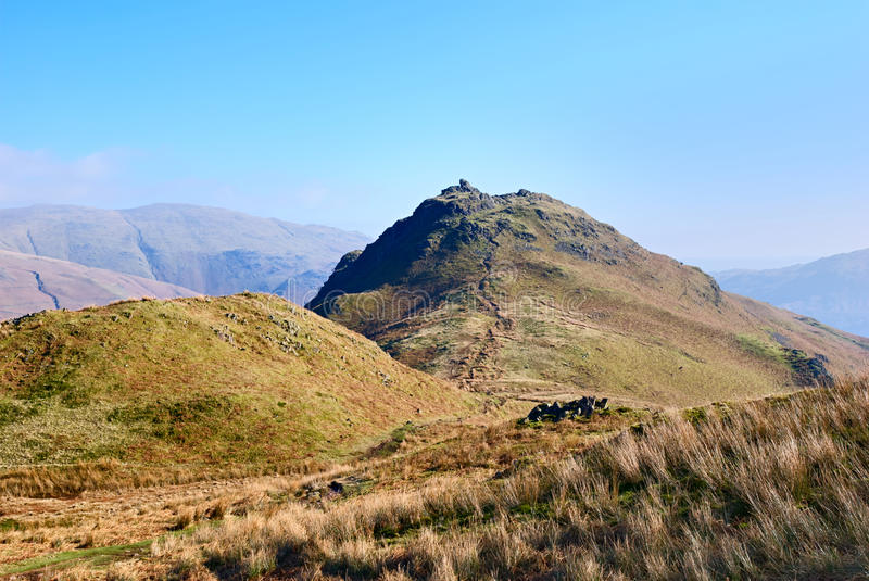 Helm Crag. Scenic view of Helm Crag in the Lake District National Park, Cumbria, England stock image
