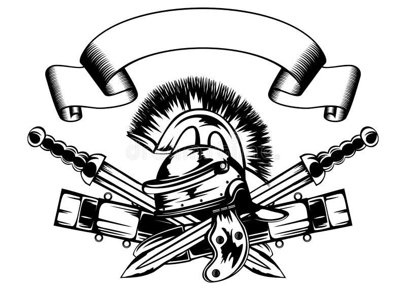 Helm en zwaarden royalty-vrije illustratie