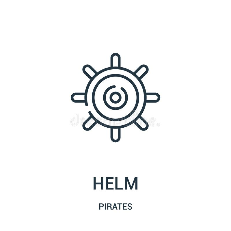 helm icon vector from pirates collection. Thin line helm outline icon vector illustration. Linear symbol for use on web and mobile vector illustration