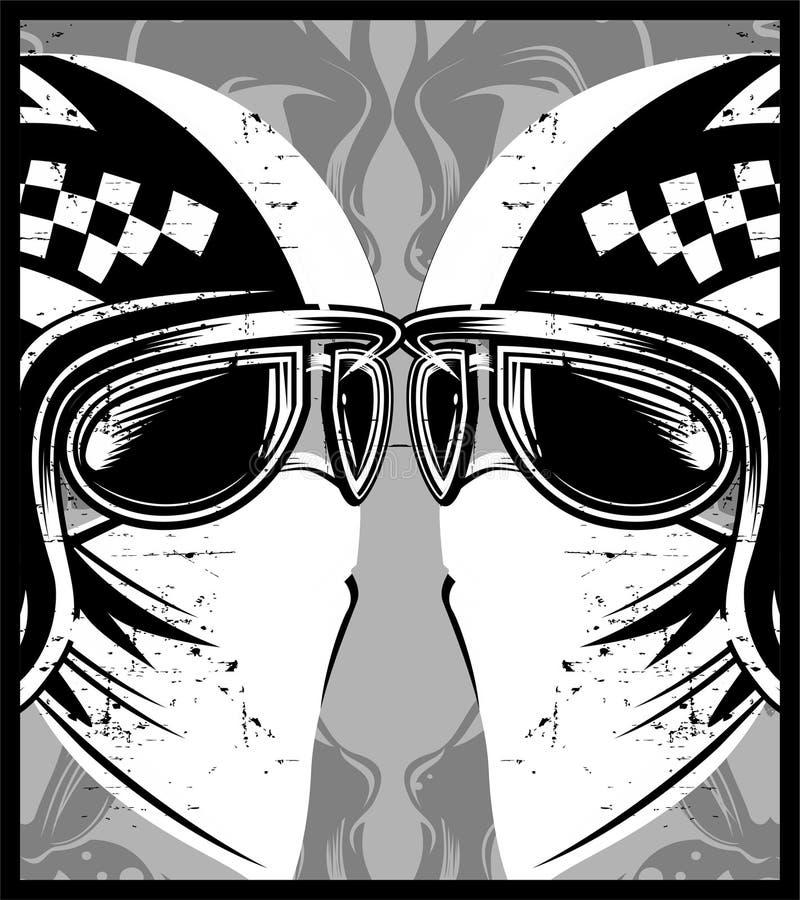 Helm met de raceauto van de oogglazenkoffie stock illustratie