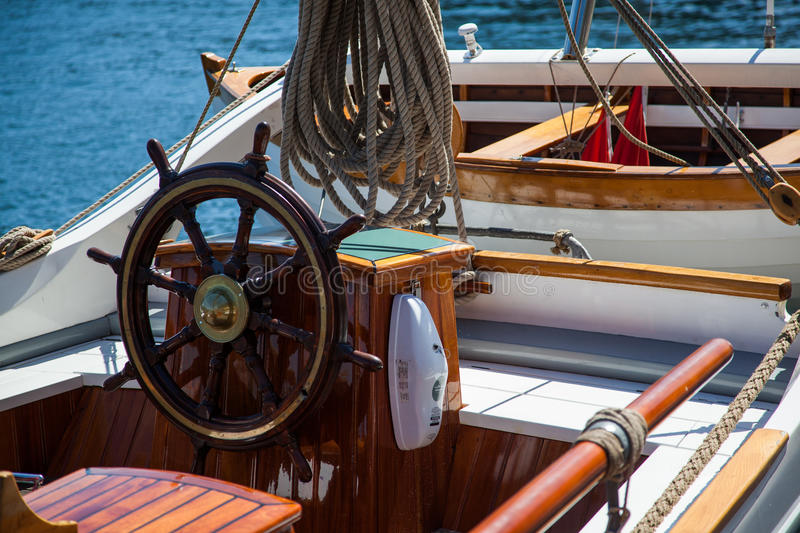 Helm of old sailing boat royalty free stock photography