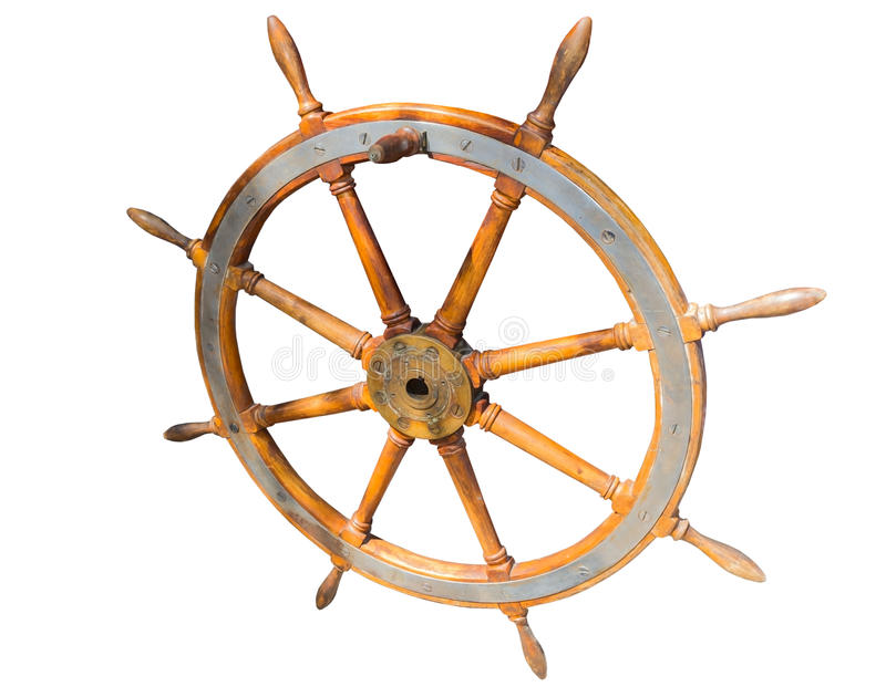 Helm of sailing boat. Old boat steering wheel from brass and wood stock photography