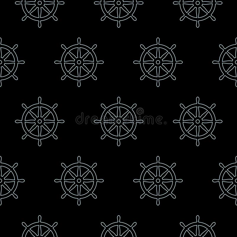 Helm seamless pattern anchor vector pirate ship boat maritime nautical sea ocean vector illustration