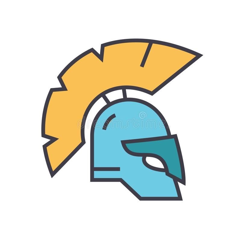 Helm, vlakke de lijnillustratie van Griekenland, conceptenvector geïsoleerd pictogram stock illustratie