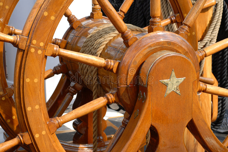 Helm or wheel of USS Constitution royalty free stock photography
