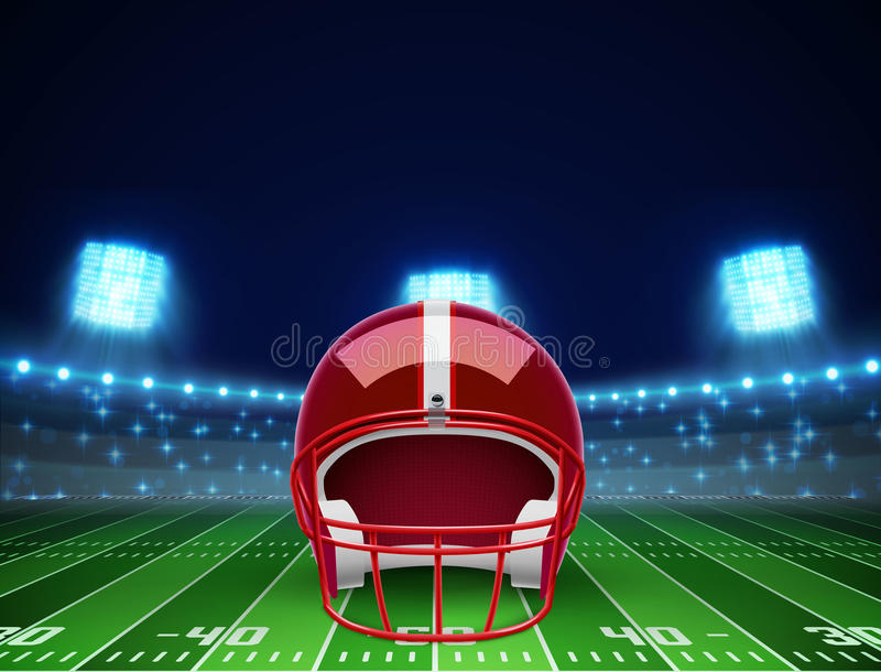 Helmet and american football field eps 10 royalty free illustration