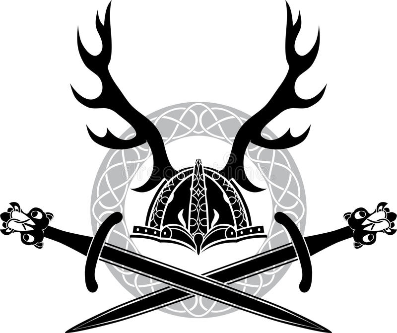 Helmet with antlers and Viking swords. Stencil royalty free illustration